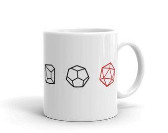 Polyhedral Dice Lineup Mug | d4 d6 d8 d10 d12 d20
