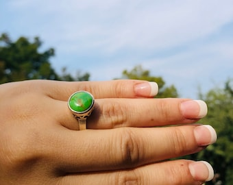 Rare Gaspeite Mexican Sterling Silver Ring