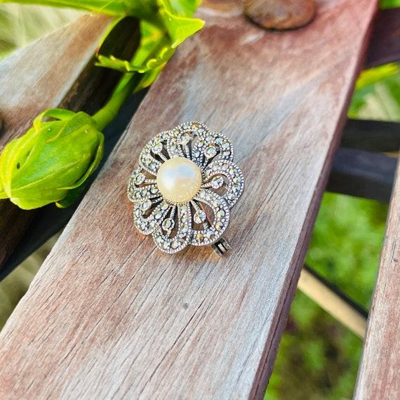 Vintage Sterling Silver 925 Marcasite Pearl Ornat… - image 5