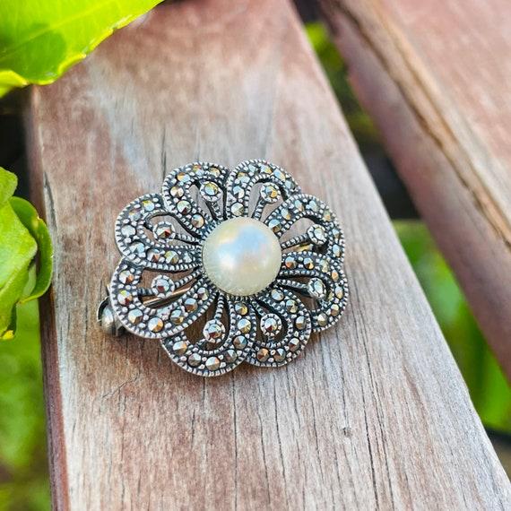 Vintage Sterling Silver 925 Marcasite Pearl Ornat… - image 6