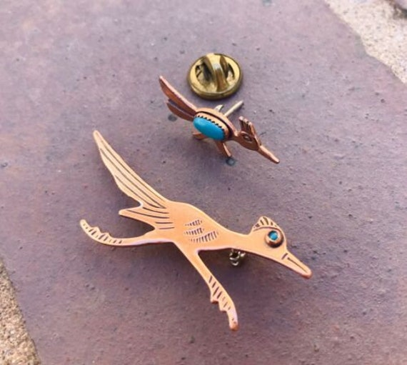 Vintage copper faux turquoise with roadrunner tourist necklace southwestern 22\u201d chain