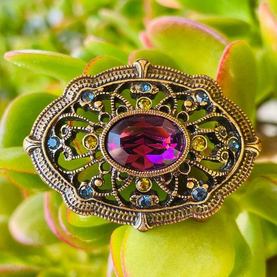 Vintage Ornate Purple Blue Green Stone Fashion Rhi