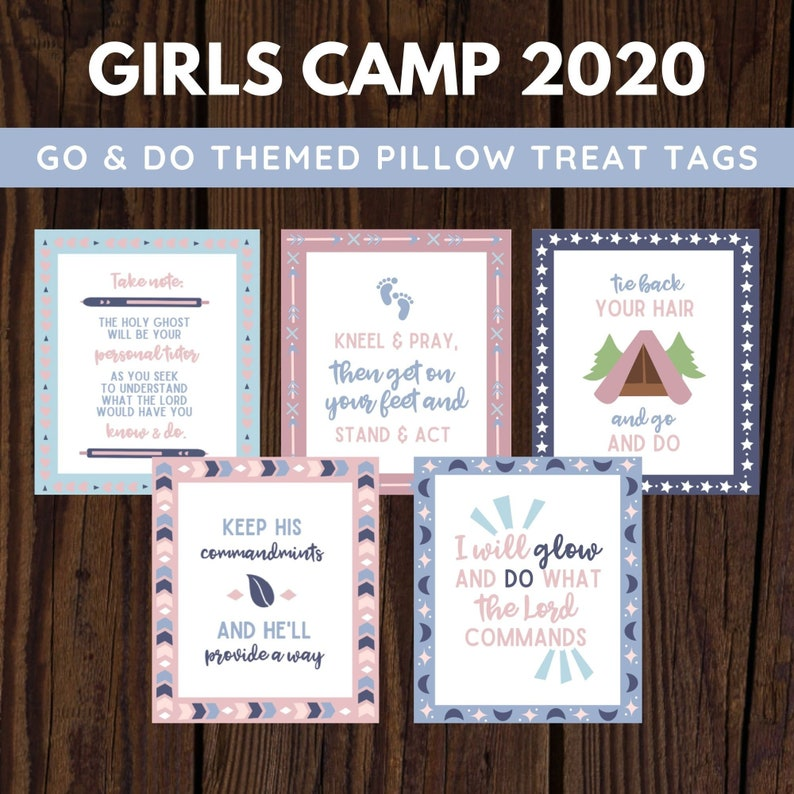2020 Girls Camp Go & Do Themed Young Women Pillow Treat Tags image 0