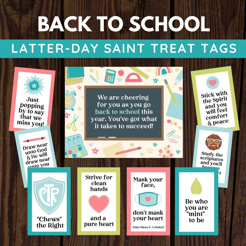 LDS Back to School Primary Young Women and Youth Treat Tag image 0