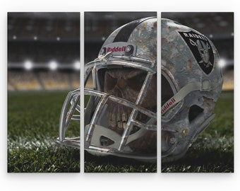 c1856f8a Oakland Raiders Football Canvas Wrap Print - 1 panel or 3 panel split  canvas wrapped on wood frame - artwork wall decor - 1.5