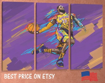 63c8f9bcabf Three Panel Split Canvas Wrap - LeBron James lakers Artwork for home living  room bedroom office wall decor - 1.5