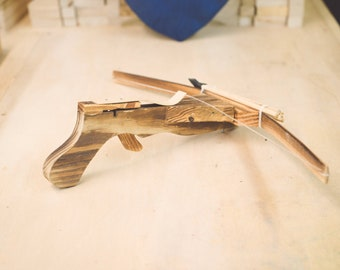 Small Crossbow | Wooden Toy I with Set of 5 Bolts
