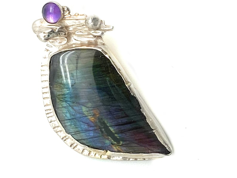 High Purple Blue Flash Gemstone Gift for Mom Labradorite Pendant Sterling Silver with Matching Amethyst Accent Labradorite Stone