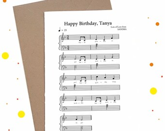 Music Sheet Digital Personalised Birthday Card Happy Custom Eco Friendly Musical Friend Piano Unique