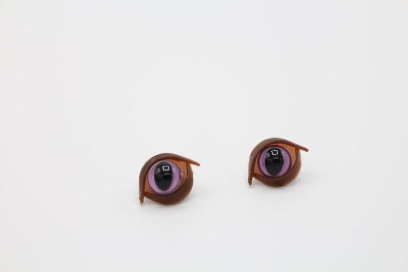 9mm safety cat eyes with eye lids in multiple colors PinkGoldRedGreenBlueOrangeWhiteYellowTealPurple