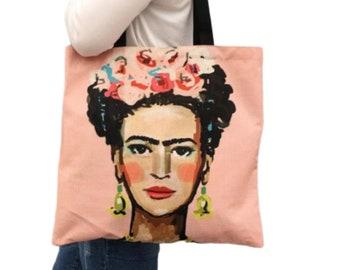 54c3b242db90 Eco Bag Frida Kahlo Print Linen - Stylish Shopping Bag