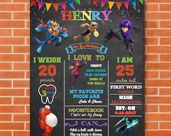 Big Hero 6 Birthday Party Baymax Boy Chalkboard Sign Decorations
