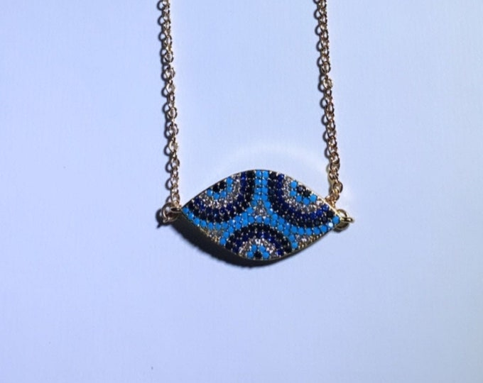 Evil Eye Embellished Gold Charm Necklace