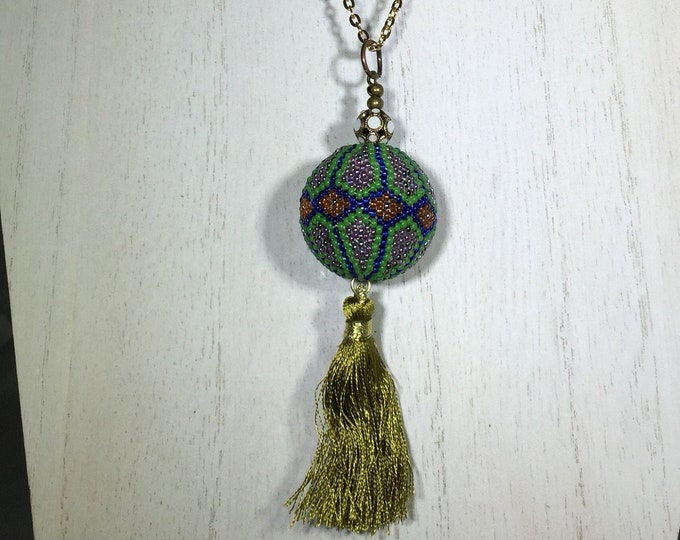 Swarovski Filigree Antique Gold- White Alabaster Bead with Large Glass Beaded Pendant and Light Green Tassel