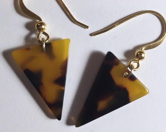 Tortoise Shell Triangle Earrings