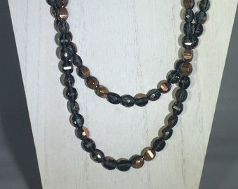 Dark Blue with Bronze Finished Faceted Beaded Necklace