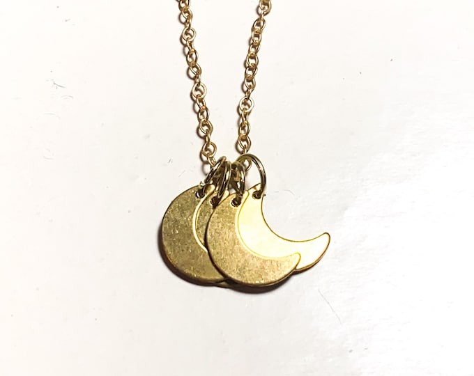 Gold Moon Multi Charm Necklace