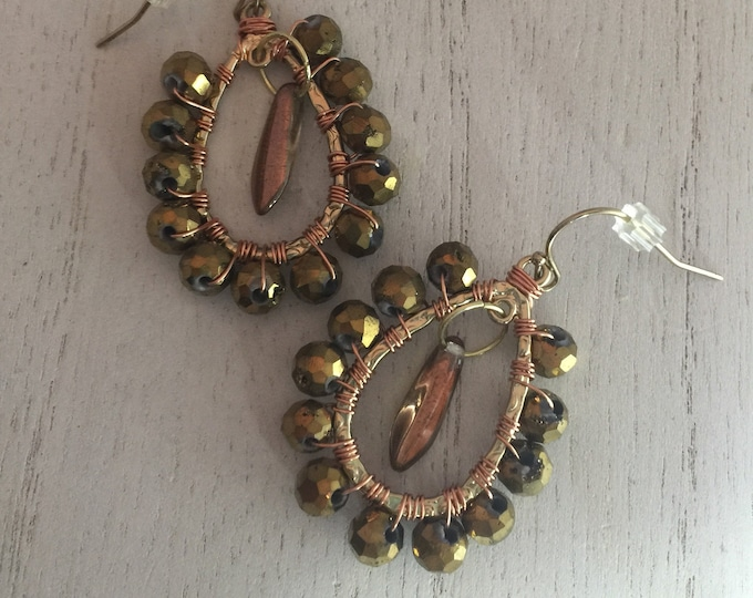 Gold Druzy Agate with Drop Bead Earrings