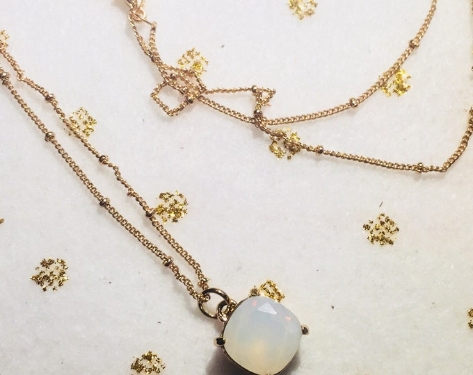 Square Glass Charm Necklace