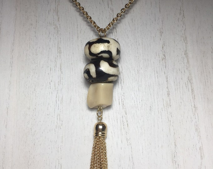 Om Mantra Tibetan Nepalese Bone and Natural White Coral Necklace with Gold Tassel