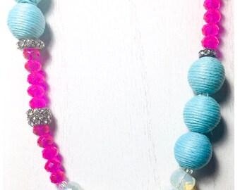 Fuchia | Turquoise & Moonstone Beaded Necklace