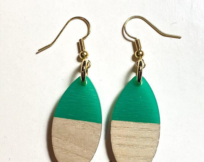 Medium Oval Wood and Resin Earrings in Bold Colors
