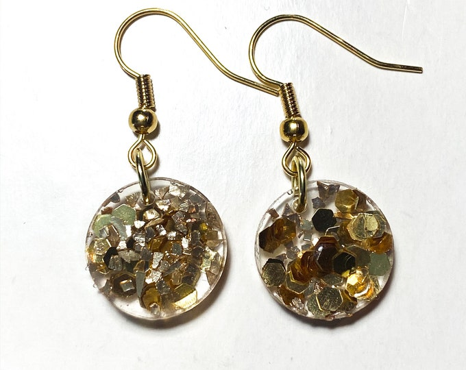 Gold Confetti Resin Earrings