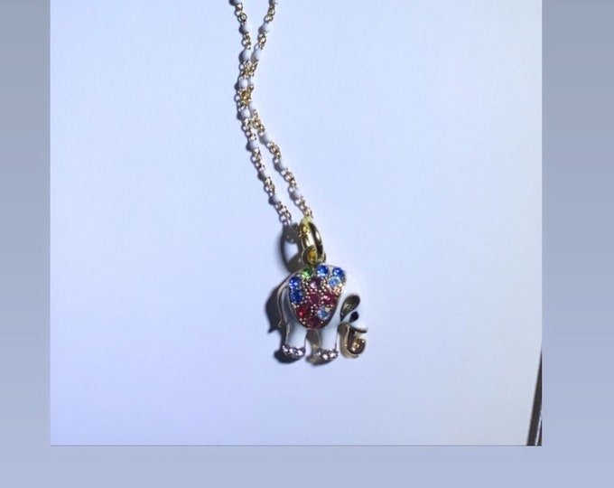 Tiny Elephant Charm Gold and White Enamel Embellished With Rainbow Rhinestones Charm Necklace