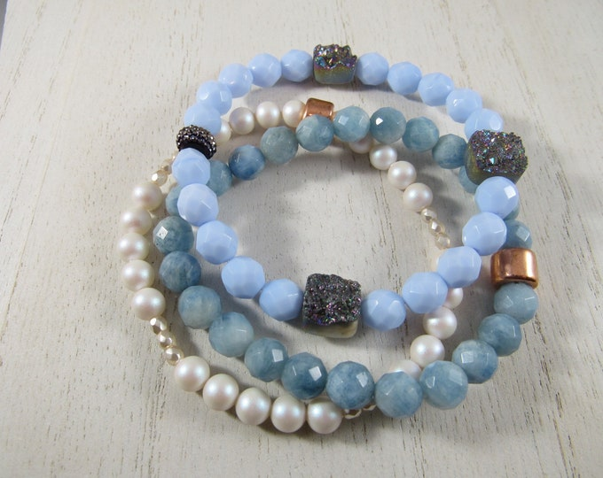Semi Precious Stones with Druzys and Swarovski Pearl Beaded Bracelet Set of 3