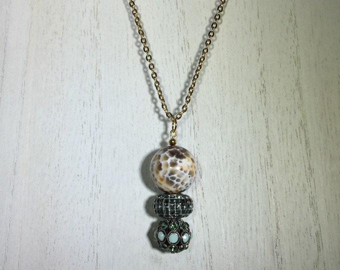 Silver and Green Swarovski Alabaster and Glass Beaded Pendant Necklace