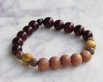Light Brown and Cranberry Red Round Wood and Geometric Black Wood Beaded Men's Bracelet
