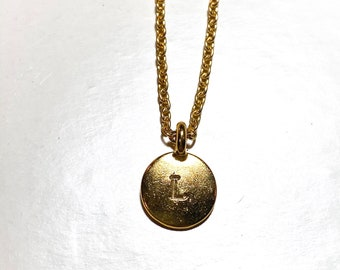 Gold Charm Necklace| Custom Initial Necklace | Hand Stamped