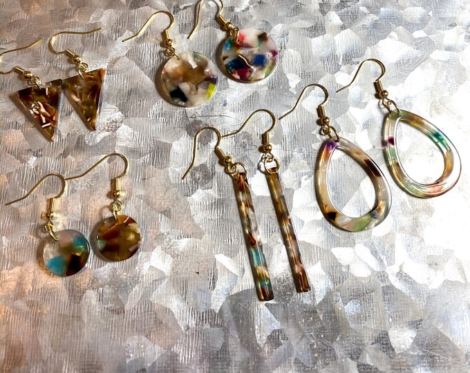 Tortoise Shell Earrings| Triangle, Teardrop, Circle, Coin, and Stick