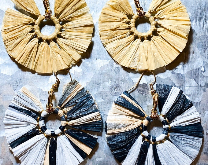 Straw Fan Large Statement Earrings