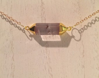 14k Gold Plated Necklace with Gold and Glass Pendant