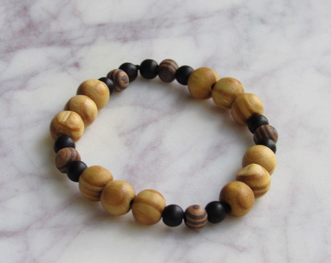 Brown and Black Round Wood and Geometric Black Wood Beaded Men's Bracelet