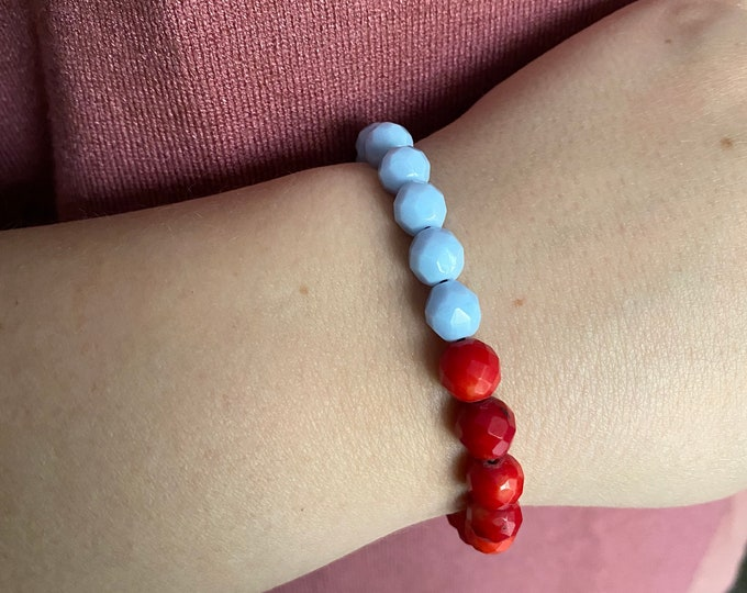 Red and Light Blue  Pale Blue Faceted and Moon Stone Beaded Bracelet  Layer   Stack   Single
