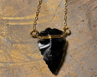 Gold Wire Wrapped Raw Natural Black Obsidian Arrowhead Pendant Necklace