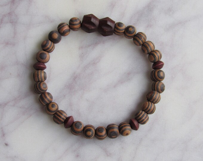 Brown and Geometric Black Wood Beaded Men's Bracelet