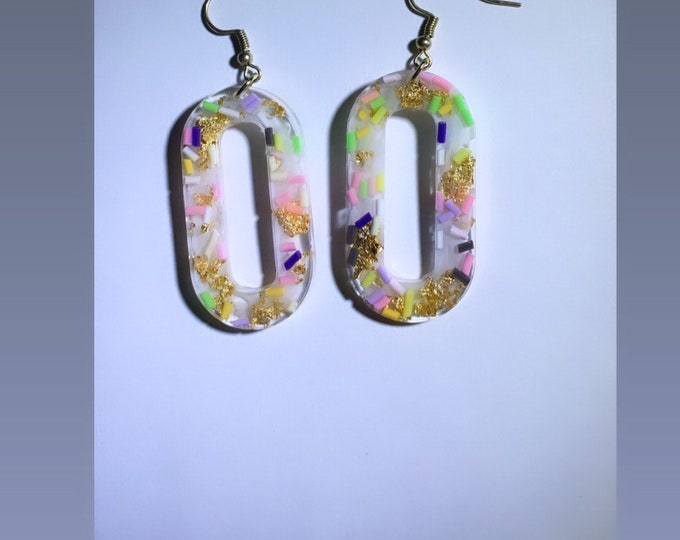 Multicolored Confetti and Gold Leaf Resin Dangle Earrings