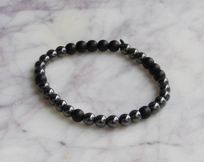 Grey Metal and Black Round Beaded Men's Bracelet
