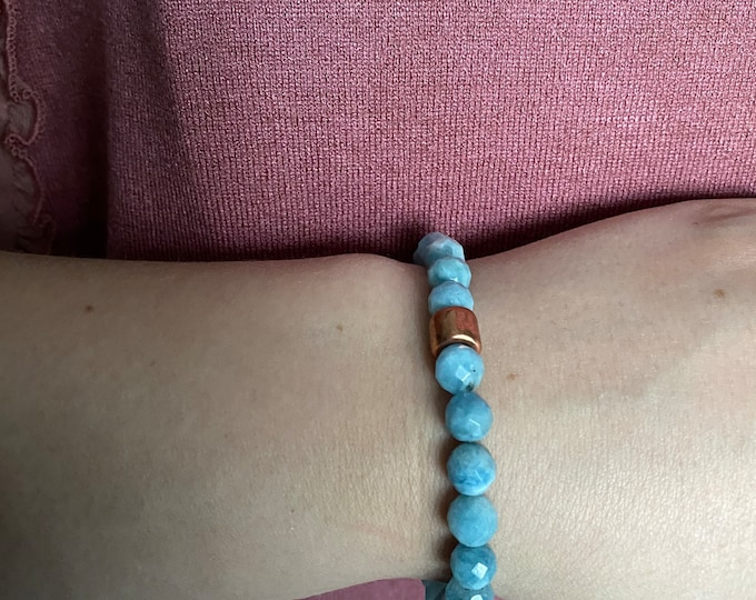 Aquamarine Semi-Precious Faceted and Rose Gold Mykonos Beaded Bracelet| Layer | Stack | Single