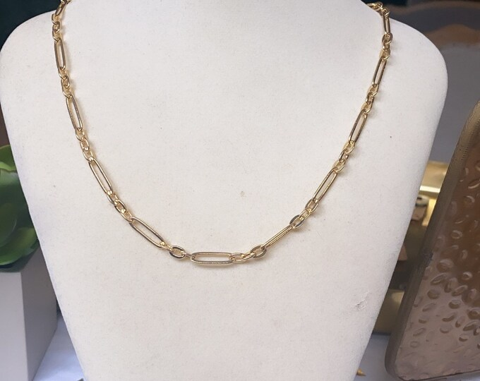 Gold Plated Paper Clip Chain Necklace | Gold | Long & Short Oval Chain