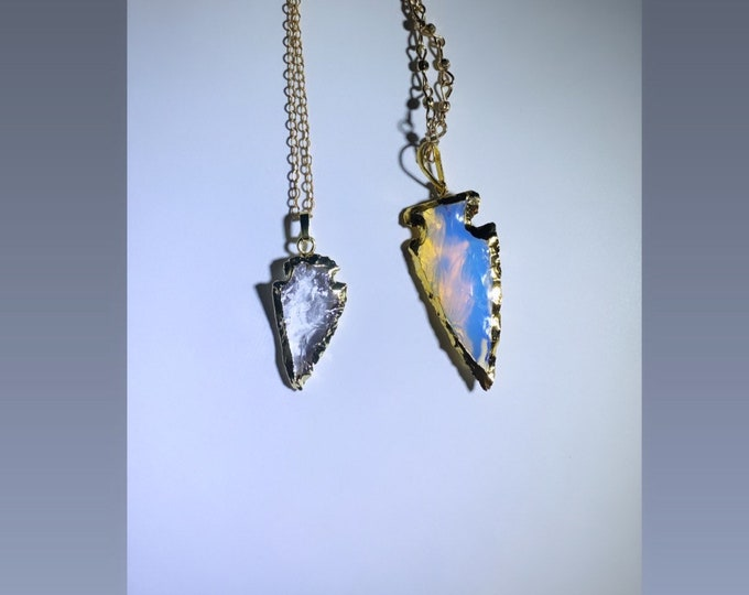 Crystal and Opal Glass Arrowhead Charm Necklaces