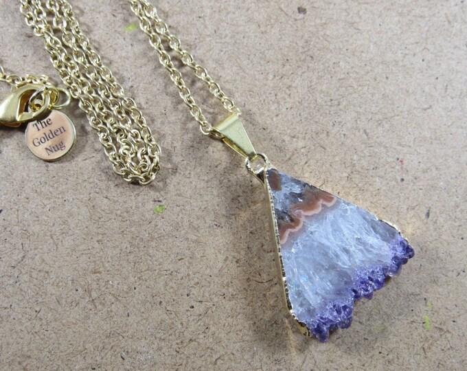 Amethyst Stalacitite Triangle Slice Pendant Chain Necklace