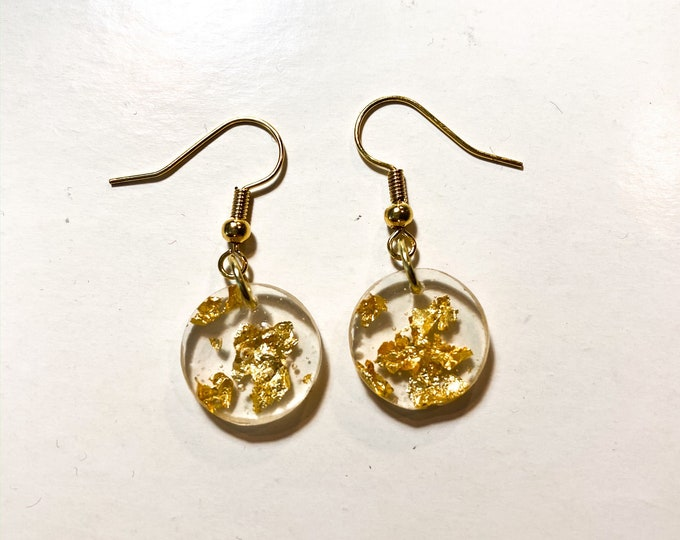 Gold Leaf Resin Earrings