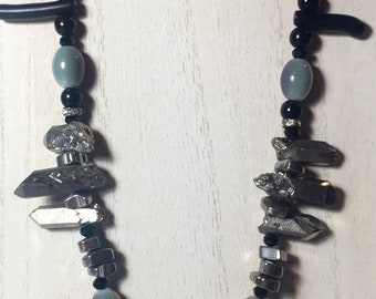 Silver Rock Crystal Quartz | Hematite | Black Coral | and Glass Beaded Statement Necklace