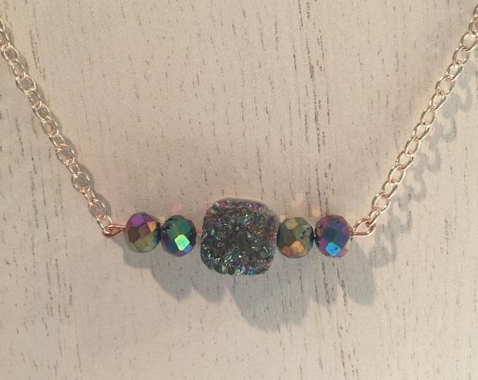 Rainbow Druzy with Rainbow Agate Beaded Chain Necklace