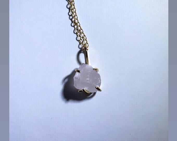 Rough Cut Rose Quartz 24k Gold Dipped Charm Necklace
