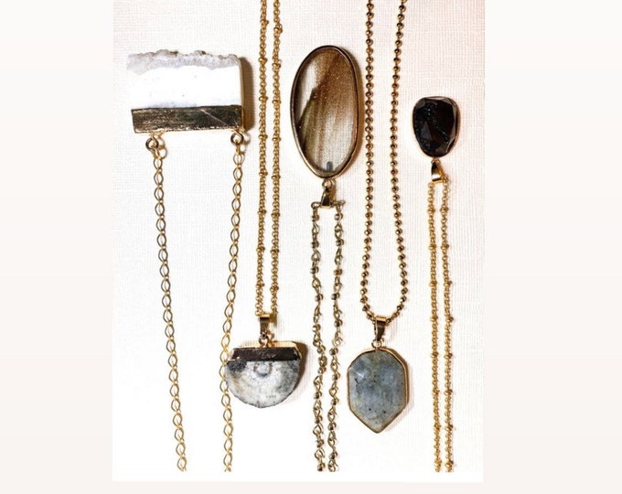 Druzy| Quartz | Glass| Agate | Labradorite| Gold Plated 14k Necklaces